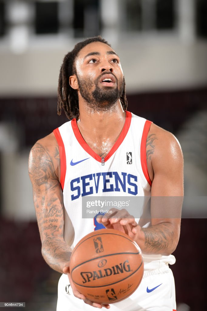 James Young #8 of the Delaware 87ers shoots the ball during NBA G League Showcase Game 26 between the Reno Bighorns and the Delaware 87ers on January 13, 2018 at the Hershey Centre in Mississauga, Ontario Canada.