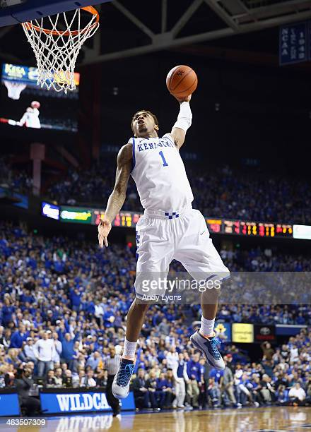 James Young of the Kentucky Wildcats dunks the ball during the game against the Tennessee Volunteers at Rupp Arena on January 18 2014 in Lexington...