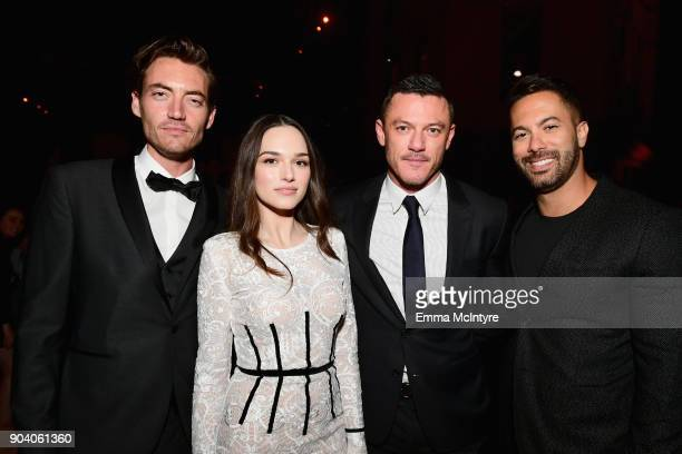 Jameson Burt Emanuela Postacchini Luke Evans and guest attend The Alienist LA Premiere Event at Paramount Studios on January 11 2018 in Hollywood...