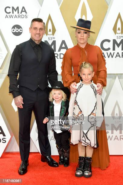 Jameson Hart Willow Hart Pnk and Carey Hart attend the 53rd annual CMA Awards at the Music City Center on November 13 2019 in Nashville Tennessee