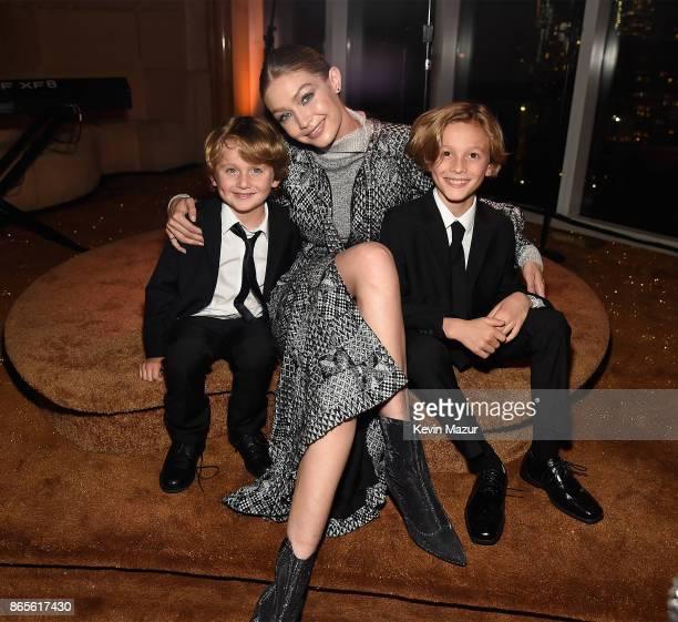 Jameson Kroenig Gigi Hadid and Hudson Kroenig attend V Magazine's intimate dinner in honor of Karl Lagerfeld at The Top of The Standard on October 23...