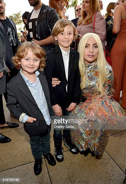 Jameson Kroenig model Hudson Kroenig and singer/honoree Lady Gaga attend The Daily Front Row Fashion Los Angeles Awards 2016 at Sunset Tower Hotel on...