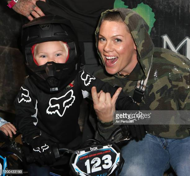 Jameson Moon Hart and P!nk attend the Monster Energy Supercross VIP Event at Angel Stadium on January 18, 2020 in Anaheim, California.