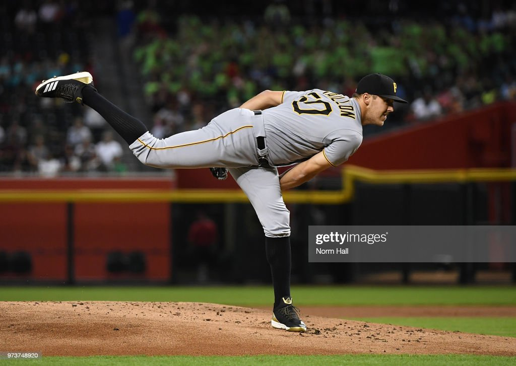 Jameson Taillon #50 of the Pittsburgh Pirates delivers a first inning pitch against the Arizona Diamondbacks at Chase Field on June 13, 2018 in Phoenix, Arizona. Pirates won 5-4.