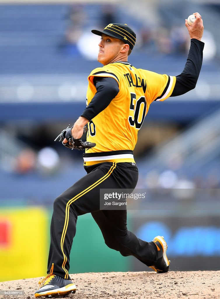 Jameson Taillon #50 of the Pittsburgh Pirates pitches during the seventh inning against the Cincinnati Reds at PNC Park on April 8, 2018 in Pittsburgh, Pennsylvania.