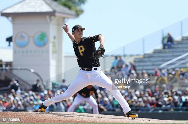 Jameson Taillon of the Pittsburgh Pirates pitches in the first inning of the Spring Training Game against the Baltimore Orioles on March 15 2017 at...