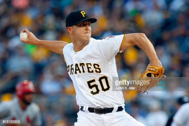 Jameson Taillon of the Pittsburgh Pirates pitches in the first inning during the game against the St Louis Cardinals at PNC Park on July 15 2017 in...