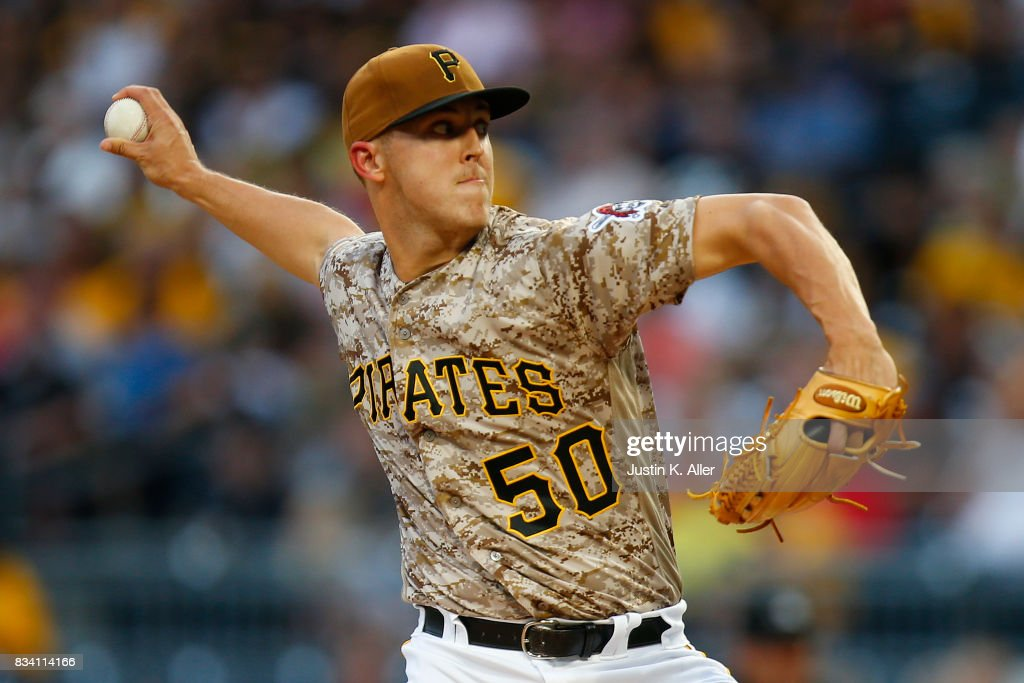 Jameson Taillon #50 of the Pittsburgh Pirates pitches in the first inning against the St. Louis Cardinals at PNC Park on August 17, 2017 in Pittsburgh, Pennsylvania.