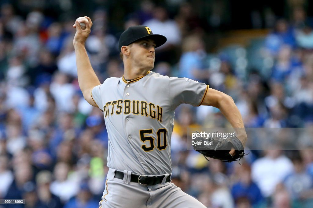 Jameson Taillon #50 of the Pittsburgh Pirates pitches in the second inning against the Milwaukee Brewers at Miller Park on May 5, 2018 in Milwaukee, Wisconsin.