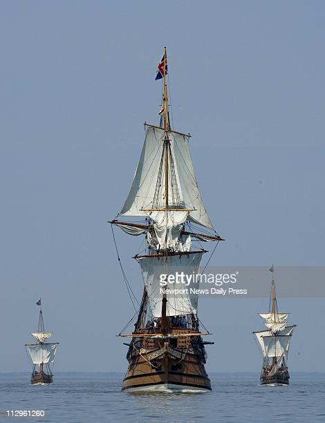 Jamestown replica ships Discovery Susan Constant and Godspeed make their way up the James River from Jamestown Settlement in Virginia It is here on a...