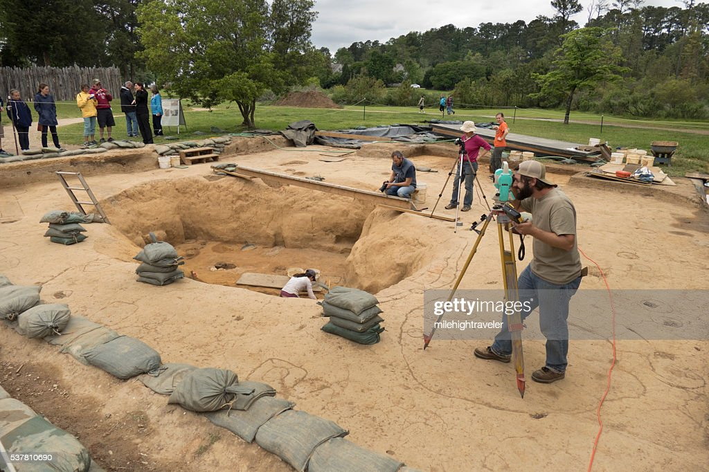 Jamestown Settlement Virginia archaeological dig site Colonial National Historical Park : Stock Photo