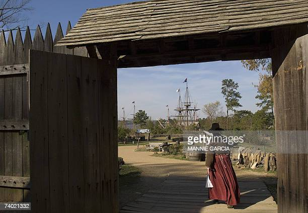 TO GO WITH AFP STORY JAMESTOWNThe birth of a nation 400 years ago An historical interpreter walks out the gate at James Fort in Jamestown Virginia 06...