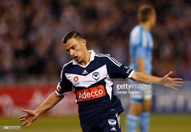 JamesTroisi of the Victory celebrates a goal during the round four ALeague match between Melbourne Victory and Wellington Phoneix at Etihad Stadium...