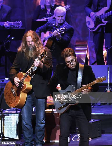 Jamey Johnson and Brent Mason perform during the Country Music Hall of Fame and Museum Medallion Ceremony to celebrate 2017 hall of fame inductees...