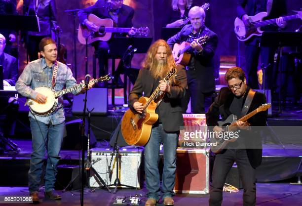 Jamey Johnson and Brent Mason perform onstage at the Country Music Hall of Fame and Museum Medallion Ceremony to celebrate 2017 hall of fame...