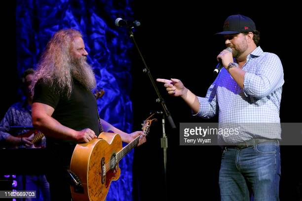 Jamey Johnson and Dallas Davidson perform onstage during the 6th Annual Georgia On My Mind presented by Gretsch at Ryman Auditorium Nashville on July...