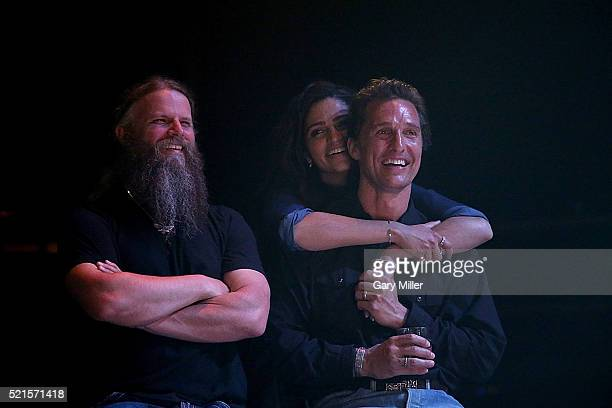 Jamey Johnson Camila Alves and Matthew McConaughey attend the 4th annual Mack Jack McConaughey charity event at ACL Live on April 15 2016 in Austin...