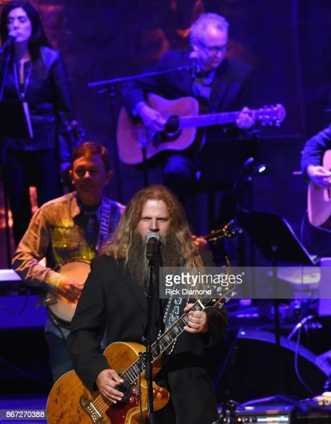Jamey Johnson performs during the Country Music Hall of Fame and Museum Medallion Ceremony to celebrate 2017 hall of fame inductees Alan Jackson...