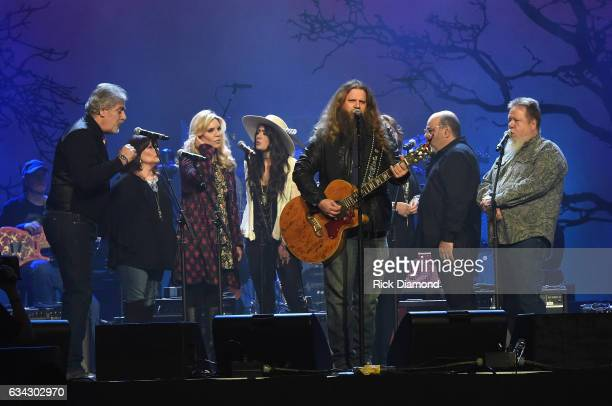 Jamey Johnson rehearses with Michael Bonagura Kathy Baillee Alison Kraus Alyssa Bonagura Suzanne and Seth Cox and Howard Johnson during 1 Night 1...