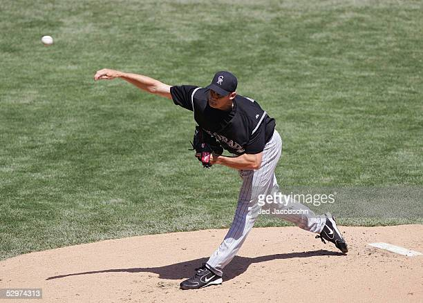 Jamey Wright#16 of the Colorado Rockies throws a pitch during the game against the San Francisco Giants during the game at SBC Park on April 9th 2005...