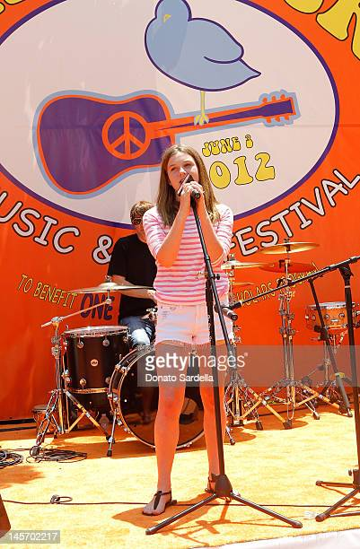 Jami Belushi performs at the 6th Annual Kidstock Music And Arts Festival Sponsored By Hudson Jeans at Greystone Mansion on June 3 2012 in Beverly...