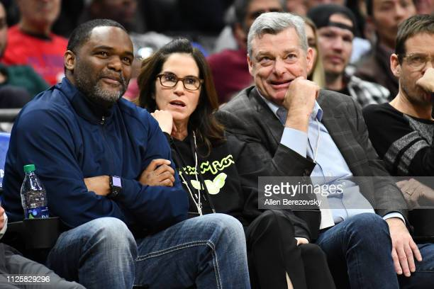 Jami Gertz and Antony Ressler attend a basketball game between the Los Angeles Clippers and the Atlanta Hawks at Staples Center on January 28 2019 in...