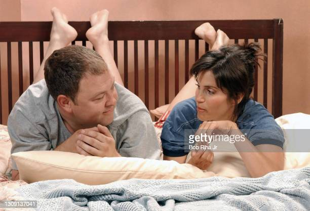 """Jami Gertz and Mark Addy during photo session for new CBS television show """"Still Standing"""" starring Gertz and Addy, July 13, 2002 at CBS studios in..."""