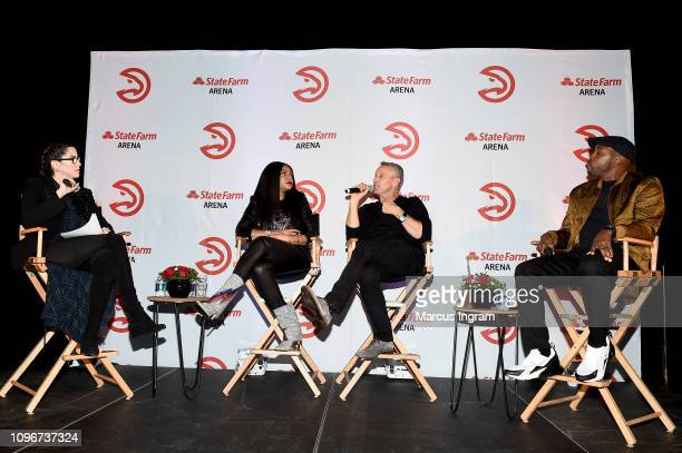 Jami Gertz Taraji P Henson Director Adam Shankman and Producer Will Packer attend the Hawks Means Business Chat in partnership with 'What Men Want'...