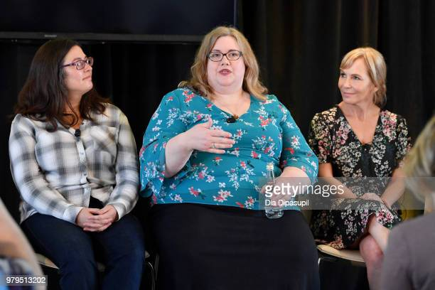 Jami OBrien Sarai Walker and Marti Noxon speak onstage during the 'From Book To Screen' Panel at the AMC Summit at Public Hotel on June 20 2018 in...