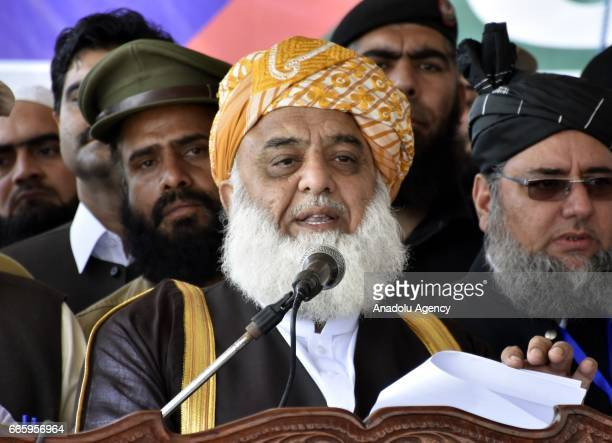 Jamiat UlemaeIslam Presdient Maulana FazalurRehman addresses during the centennial celebrations of Jamiat UlemaiIslam in Nowshera on Friday April 07...
