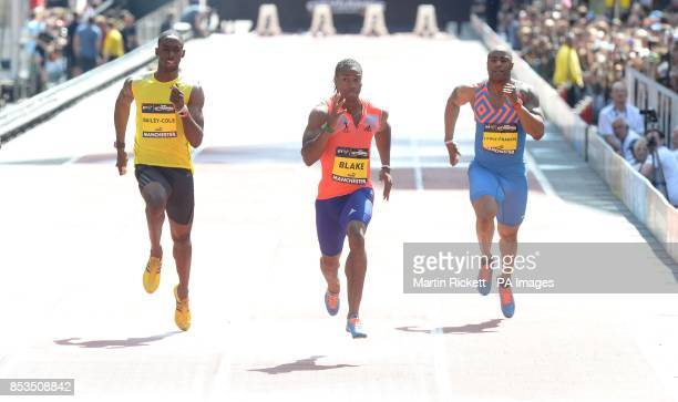Jamica's Yohan Blake wins the Mens 150m on Deansgate Manchester with Mark Lewis Francis and Kemar BaileyCole during the BT Great CityGames in...