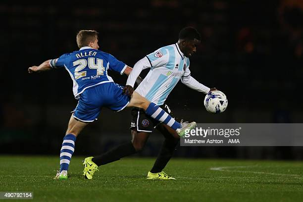 Jamie Allen of Rochdale and Larnell Cole of Shrewsbury Town during the Sky Bet League One match between Rochdale and Shrewsbury Town at Spotland...