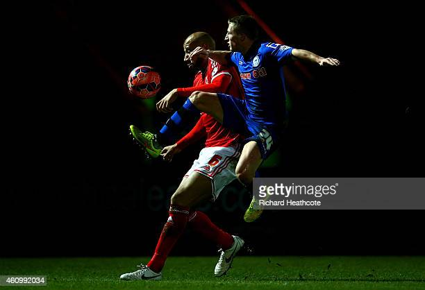 Jamie Allen of Rochdale battles for the ball with Kelvin wilson of Nottingham Forest during the FA Cup Third Round match between Rochdale and...