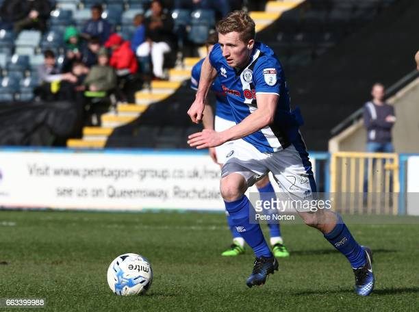 Jamie Allen of Rochdale in action during the Sky Bet League One match between Rochdale and Northampton Town at The Crown Oil Arena on April 1 2017 in...