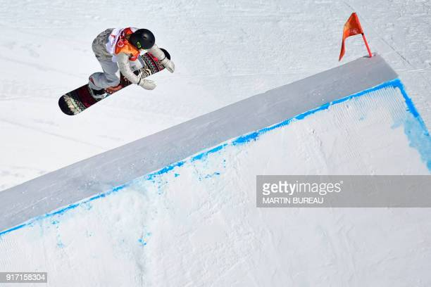 Jamie Anderson competes in a run of the women's snowboard slopestyle final event at the Phoenix Park during the Pyeongchang 2018 Winter Olympic Games...