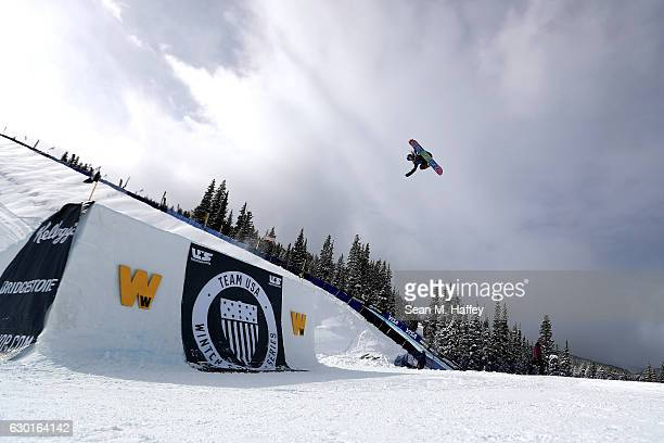Jamie Anderson competes in the final round of the FIS Snowboard World Cup 2017 Ladies' Snowboard Big Air during The Toyota US Grand Prix at Copper...