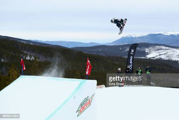 Jamie Anderson competes in the women's snowboard Slopestyle Final during Day 4 of the Dew Tour on December 16 2017 in Breckenridge Colorado