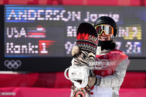 Jamie Anderson of the United States celebrates her score during the Snowboard Ladies' Big Air Final Run 2 on day 13 of the PyeongChang 2018 Winter...