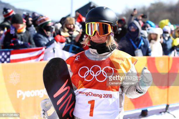 Jamie Anderson of the United States celebrates in the Snowboard Ladies' Slopestyle Final on day three of the PyeongChang 2018 Winter Olympic Games at...