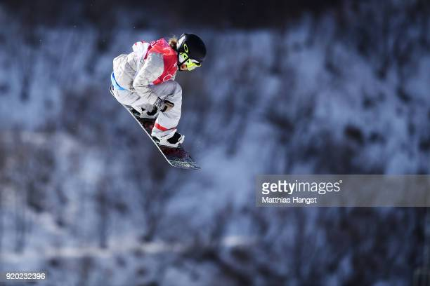 Jamie Anderson of the United States competes during the Snowboard Ladies' Big Air Qualification on day 10 of the PyeongChang 2018 Winter Olympic...