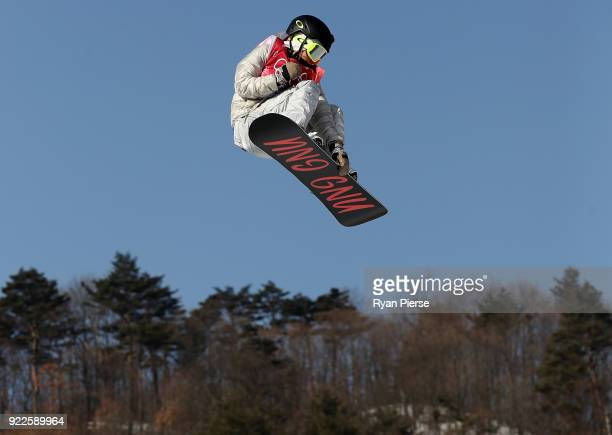 Jamie Anderson of the United States competes during the Snowboard Ladies' Big Air Final on day 13 of the PyeongChang 2018 Winter Olympic Games at...