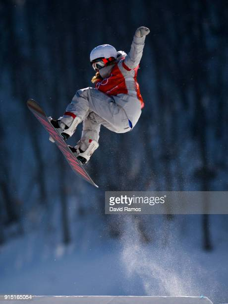 Jamie Anderson of the United States in action during a slope style training session ahead of the PyeongChang 2018 Winter Olympic Games at Bokwang...