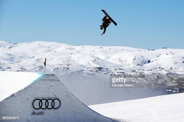 Jamie Anderson of USA competes during Winter Games NZ FIS Women's Snowboard World Cup Slopestyle Finals at Cardrona Alpine Resort on September 4 2017...