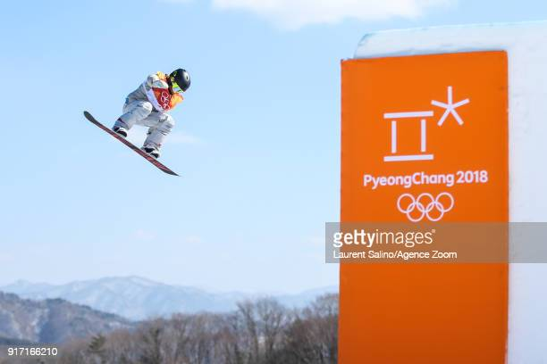 Jamie Anderson of USA takes 1st place during the Snowboarding Women's Slopestyle Finals at Pheonix Snow Park on February 12 2018 in Pyeongchanggun...