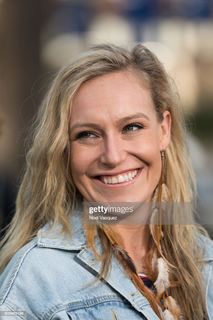 Jamie Anderson visits 'Extra' at Universal Studios Hollywood on February 28, 2018 in Universal City, California.