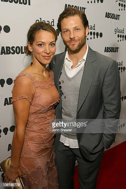 Jamie Bamber and Kerry Norton during 18th Annual GLAAD Media Awards Los Angeles Red Carpet at Kodak Theater in Los Angeles California United States