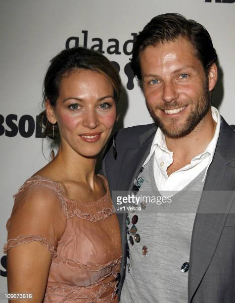 Jamie Bamber and Kerry Norton during 18th Annual GLAAD Media Awards Los Angeles Cocktail Reception at Kodak Theater in Los Angeles California United...