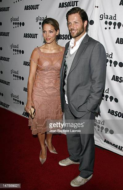 Jamie Bamber and wife Kerry Norton during 18th Annual GLAAD Media Awards Los Angeles Arrivals at Kodak Theatre in Hollywood California United States