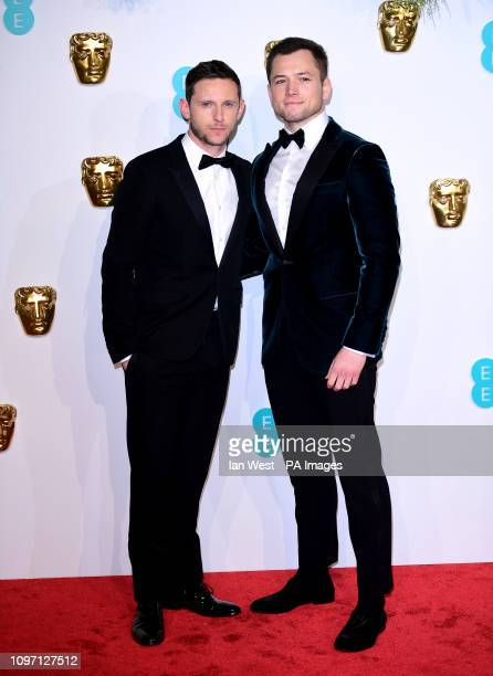 Jamie Bell and Taron Egerton attending the 72nd British Academy Film Awards held at the Royal Albert Hall Kensington Gore Kensington London