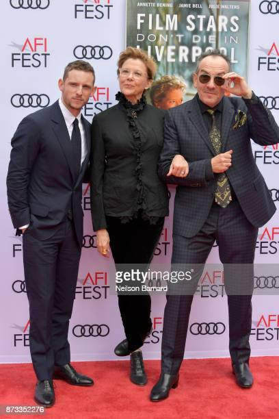 Jamie Bell Annette Bening and Elvis Costello attend the screening of 'Film Stars Don't Die In Liverpool' at AFI FEST 2017 Presented By Audi at TCL...